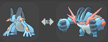 Do you even lift? When Swampert (left) Mega Evolves, it gets a significant stat boost temporarily in a battle.